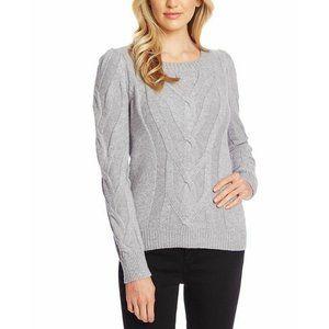CeCe Cable Knit Crewneck Gray Sweater